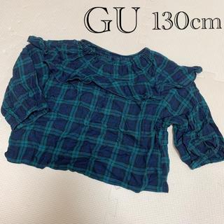GU - GU:7分袖 フリルトップス 130cm