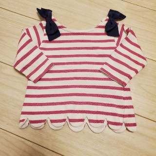 プティマイン(petit main)のプティマイン  ボーダーT  80㎝ ピンク×ネイビー(Tシャツ)