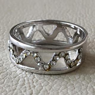 (108)ギザギザ模様のビジューリング シルバー ヴィンテージ (リング(指輪))