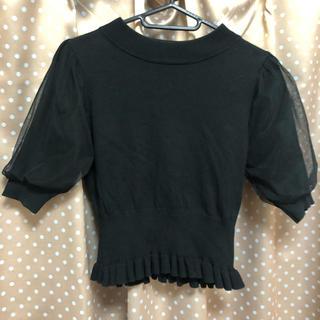 ナイスクラップ(NICE CLAUP)の袖チュールハイネック 半袖ニット(ニット/セーター)