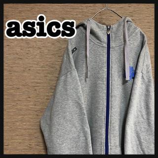 アシックス(asics)の【アシックス】フルジップパーカー 刺繍ロゴ バスケ グレー ゆるダボ 4(パーカー)
