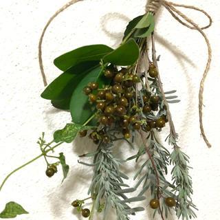 [最終お値下げ]木の実とグリーンのスワッグ ナチュラル 花材 素材 F(ドライフラワー)