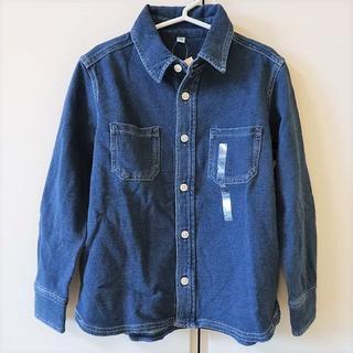 MUJI (無印良品) - 無印良品 未使用 デニム シャツ ネイビー キッズ サイズ120