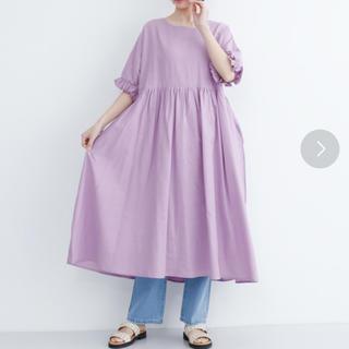 メルロー(merlot)のインド綿フリル袖ワンピース(ひざ丈ワンピース)