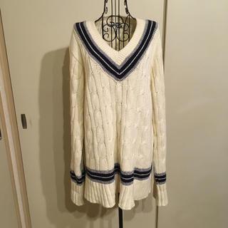 サンタモニカ(Santa Monica)の【美品】vintage ヴィンテージ チルデンニット セーター ホワイト白(ニット/セーター)