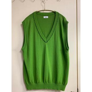 アレッジ(ALLEGE)のALLEGE 19ss Hand stitch knit vest グリーン(ニット/セーター)