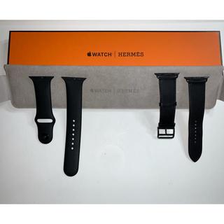 アップルウォッチ(Apple Watch)のApple Watch5 エルメスベルト(レザー•スポーツ)セット 44mm 黒(その他)