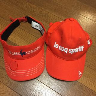 ルコックスポルティフ(le coq sportif)のゴルフサンバイザーキャップ セット 赤 (キャップ)