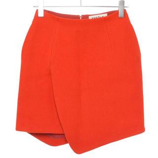 エンフォルド(ENFOLD)のENFOLD エンフォルド ウールスカート サイズ38レッドオレンジ(ひざ丈スカート)