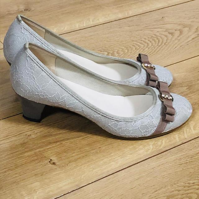 JELLY BEANS(ジェリービーンズ)のJELLY BEANS 24cm Lサイズ 日本製 グレージュ リボン パンプス レディースの靴/シューズ(ハイヒール/パンプス)の商品写真