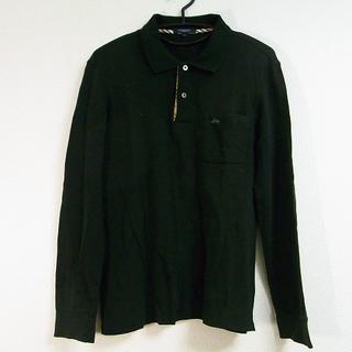 バーバリー(BURBERRY)のバーバリーロンドン 長袖ポロシャツ L - 黒(ポロシャツ)