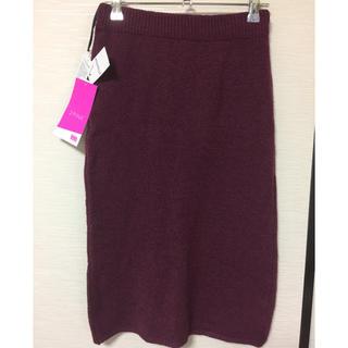 シマムラ(しまむら)のvivi  2PINK  後ろスリットニットスカート!新品M(ロングスカート)