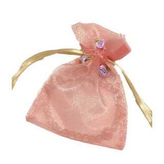 オーガンジー 巾着 小物入れ お花 付き ラッピング 小物 収納 1枚 ピンク(カード/レター/ラッピング)