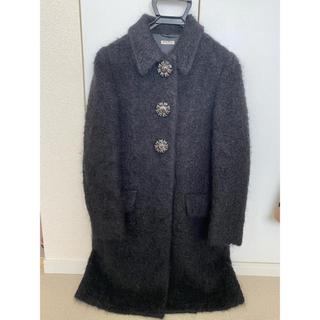 ミュウミュウ(miumiu)の激レア miumiu ミュウミュウ コート ブラック フラワー(ロングコート)