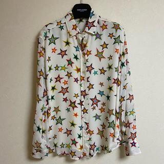 Saint Laurent - サンローラン スターシャツ レーヨン ホワイトマルチカラー M-L相当 正規品