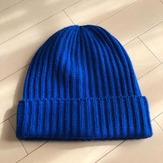 ユニクロ ヒートテック ニット帽 ブルー フリーサイズ