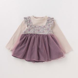 petit main - プティマイン 花柄チュールドッキングTシャツ 110 新品