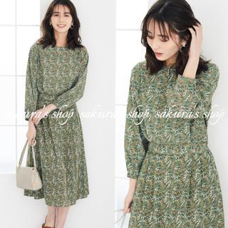 グリーンパークス(green parks)の美品♡ chocol raffine robe フラワーウエストマークワンピース(ロングワンピース/マキシワンピース)