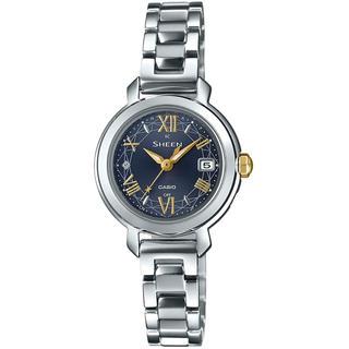 カシオ(CASIO)のカシオ SHEEN 電波ソーラー 腕時計 シルバー×ネイビー(腕時計)