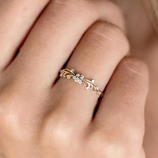 15号イエローゴールドバタフライリングczダイヤモンド(リング(指輪))