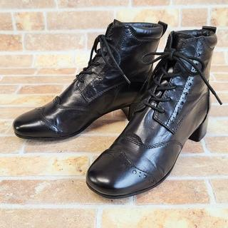 GEOX ジェオックス ☆ レザー ショートブーツ 36.5 黒 革靴(ブーツ)