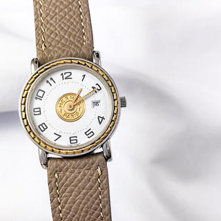 Hermes - 【仕上済/ベルト2本】エルメス セリエ デイト コンビ レディース 腕時計