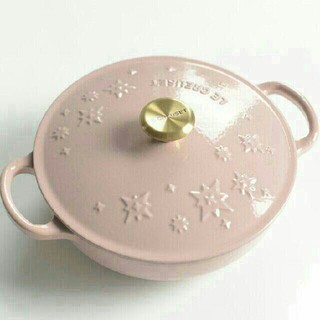 creuset、鋳鉄、エナメル鍋、ピンク