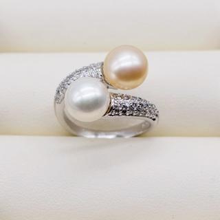 淡水パール × czダイヤ ツイストリング シルバー ピンク×ホワイト(リング(指輪))