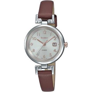 カシオ(CASIO)のカシオ SHEEN 本革バンド ソーラー 腕時計 ブラウン(腕時計)