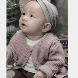 ザラキッズ(ZARA KIDS)の新品 リブニットカーディガン 100サイズMサイズ 韓国子供服(カーディガン)