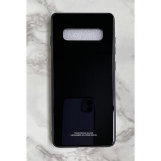 ギャラクシー(Galaxy)のシンプル&男女兼用♪耐衝撃背面9Hガラスケース GalaxyS10 ブラック 黒(Androidケース)