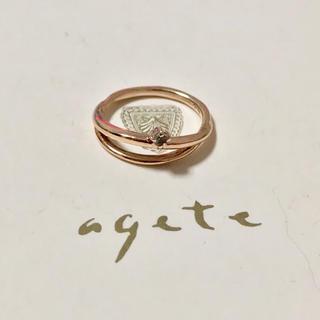 アガット(agete)のアガット K10 ピンキーリング 3号 ウェーブ 2連 天然石(リング(指輪))