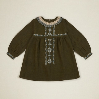 Caramel baby&child  - Apolina Kids MARIETTE DRESS  OLIVE新品