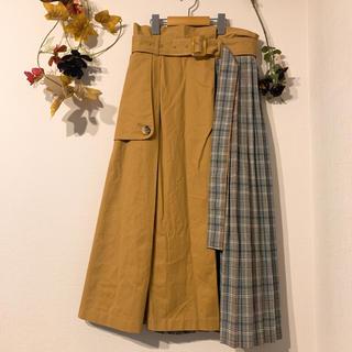 ミスティウーマン(mysty woman)のmysty woman ベルト付きチェックプリーツ切り替えチノスカート(ロングスカート)