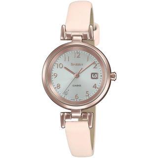 カシオ(CASIO)のカシオ SHEEN 本革バンド ソーラー 腕時計 ペールピンク(腕時計)