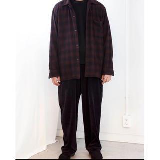 COMOLI - comoli ウール チェックオープンカラー シャツ