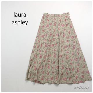 ローラアシュレイ(LAURA ASHLEY)のローラアシュレイ . 総柄  フラワープリント 花柄 Aライン フレア スカート(ロングスカート)