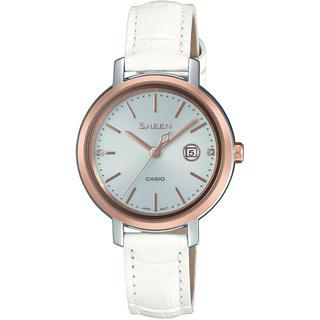 カシオ(CASIO)のカシオ SHEEN シンプルデザイン 本革バンド ソーラー 腕時計 ホワイト(腕時計)