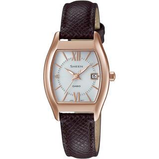 カシオ(CASIO)のカシオ SHEEN 本革バンド ソーラー腕時計 ブラウン(腕時計)