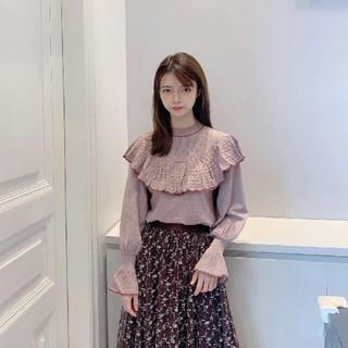 Lily Brown - LilyBrown リリーブラウン 透かし編みフリルニットトップス ベージュ