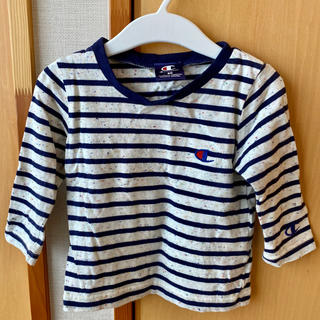 チャンピオン(Champion)のベビー服 長袖 カラフルコットン 生成 ボーダー Tシャツ(Tシャツ)