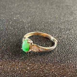 卸値 指輪 本翡翠 緑色 ヒスイ A貨 シルバー 誕生日プレゼント 本物保証98(リング(指輪))