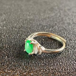 卸値 指輪 本翡翠 緑色 ヒスイ A貨 シルバー 誕生日プレゼント 本物保証97(リング(指輪))