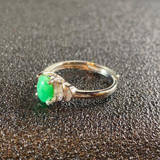 卸値 指輪 本翡翠 緑色 ヒスイ A貨 シルバー 誕生日プレゼント 本物保証96(リング(指輪))