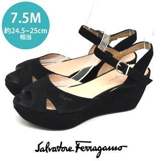 Salvatore Ferragamo - フェラガモ ガンチーニ 厚底 スエード サンダル 7.5M(約24.5-25cm
