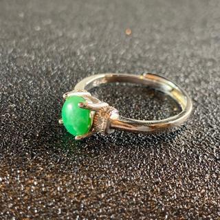 卸値 指輪 本翡翠 緑色 ヒスイ A貨 シルバー 誕生日プレゼント 本物保証95(リング(指輪))