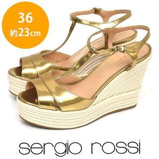 Sergio Rossi - ほぼ新品❤セルジオロッシ Tストラップ ウェッジソールサンダル 36(約23cm