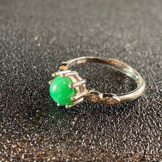卸値 指輪 本翡翠 緑色 ヒスイ A貨 シルバー 誕生日プレゼント 本物保証89(リング(指輪))