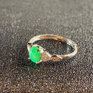 卸値 指輪 本翡翠 緑色 ヒスイ A貨 シルバー 誕生日プレゼント 本物保証90(リング(指輪))