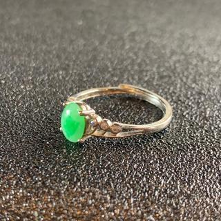 卸値 指輪 本翡翠 緑色 ヒスイ A貨 シルバー 誕生日プレゼント 本物保証91(リング(指輪))